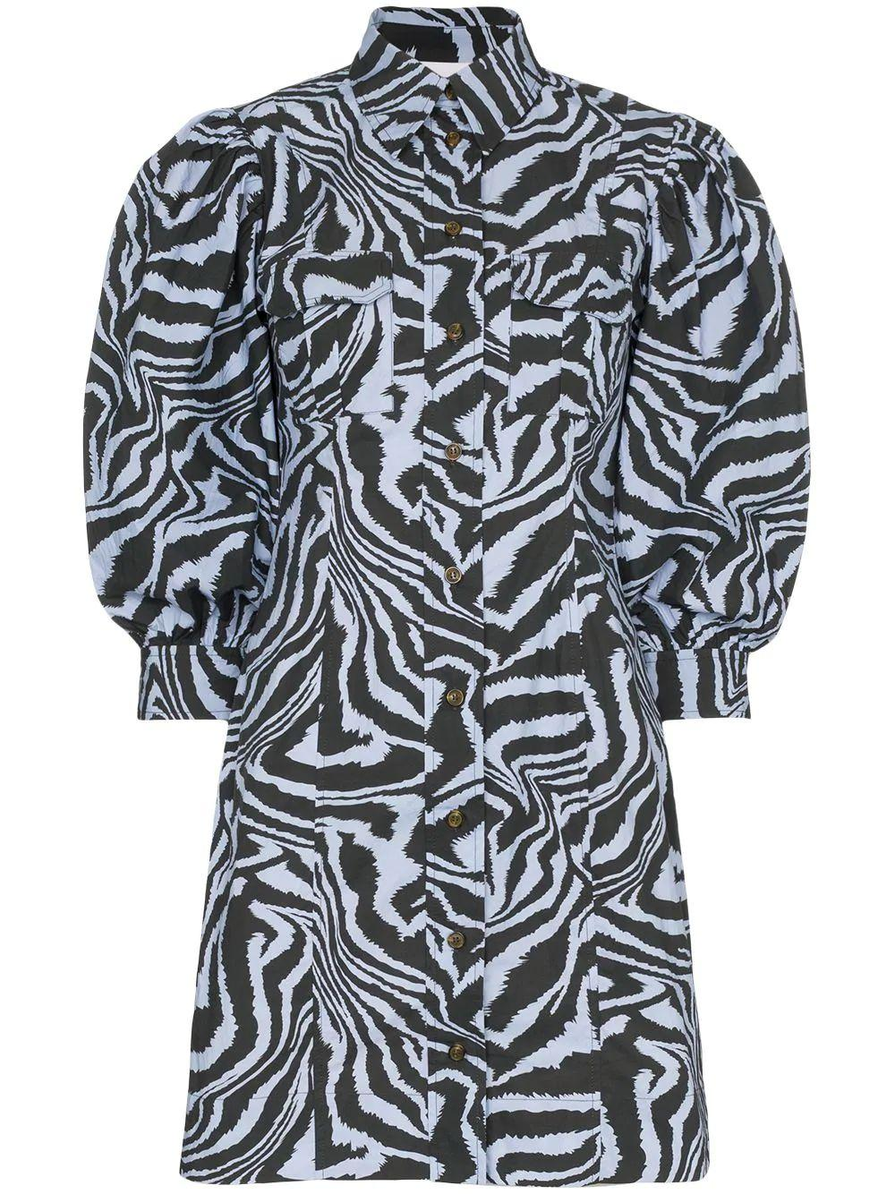 Zebra Print Cotton Poplin Dress