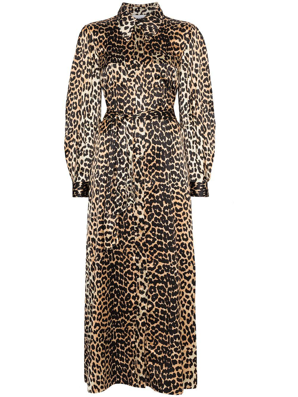Leopard Silk Satin Tie Belt Maxi Dress