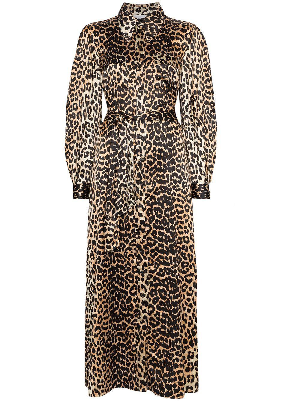 Leopard Silk Satin Tie Belt Maxi Dress