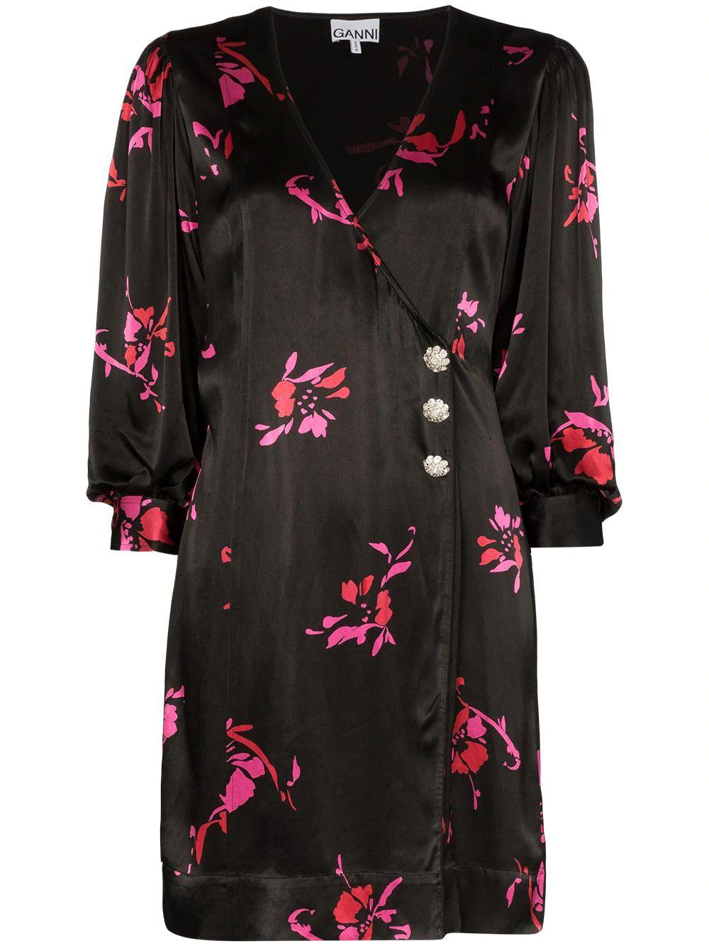 Heavy Satin Floral Print Dress