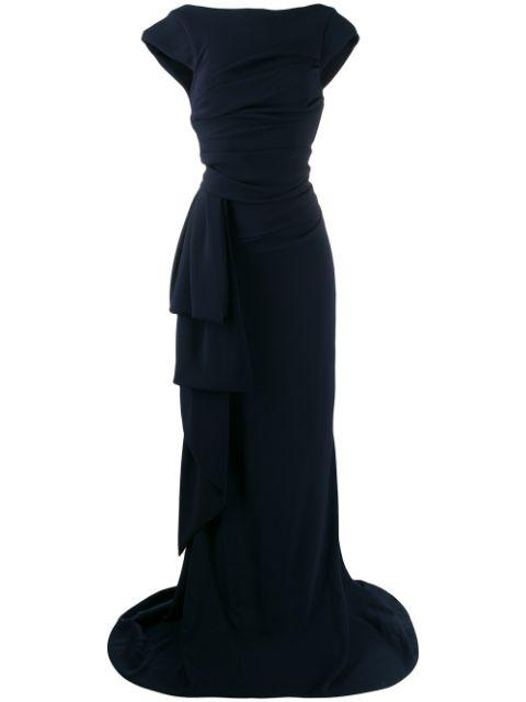 Stretch Crepe Cap Sleeve Gown
