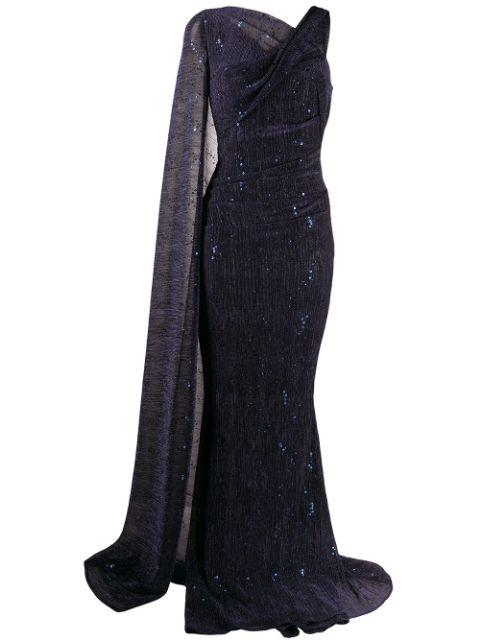 One Drape Shoulder Metallic Sequin Gown Item # ROSEDALE3