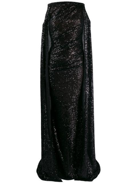 Micro Sequin Gown With Cold Shoulder Cape