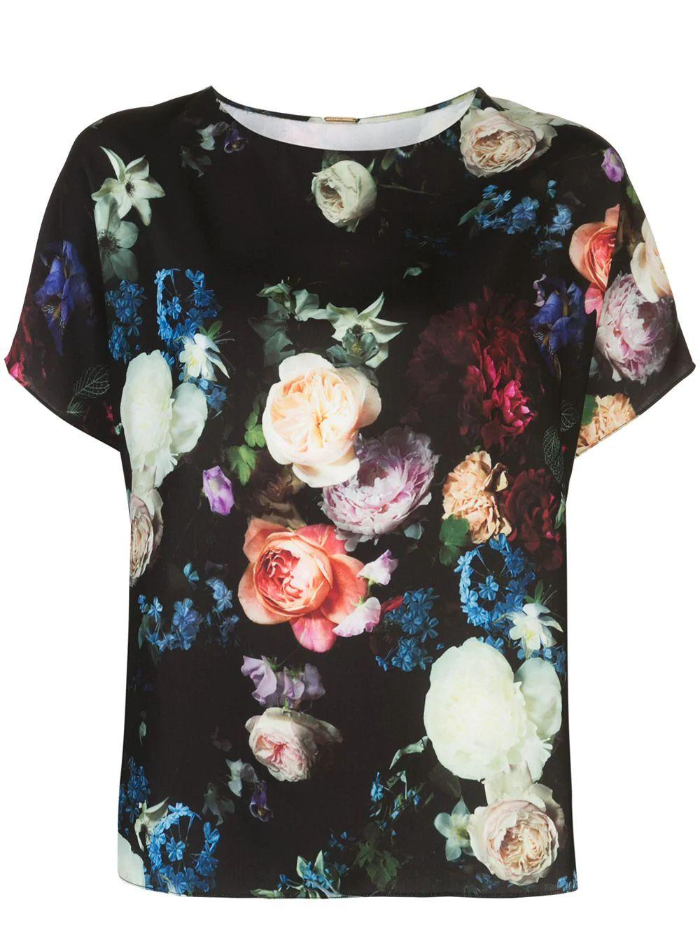 Short Sleeve Floral Printed Crepe Dolman Top