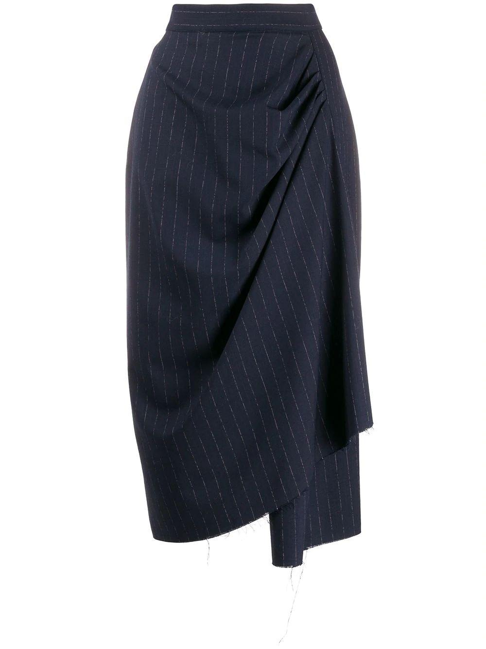Drape Pinstripe Skirt With Raw Hem
