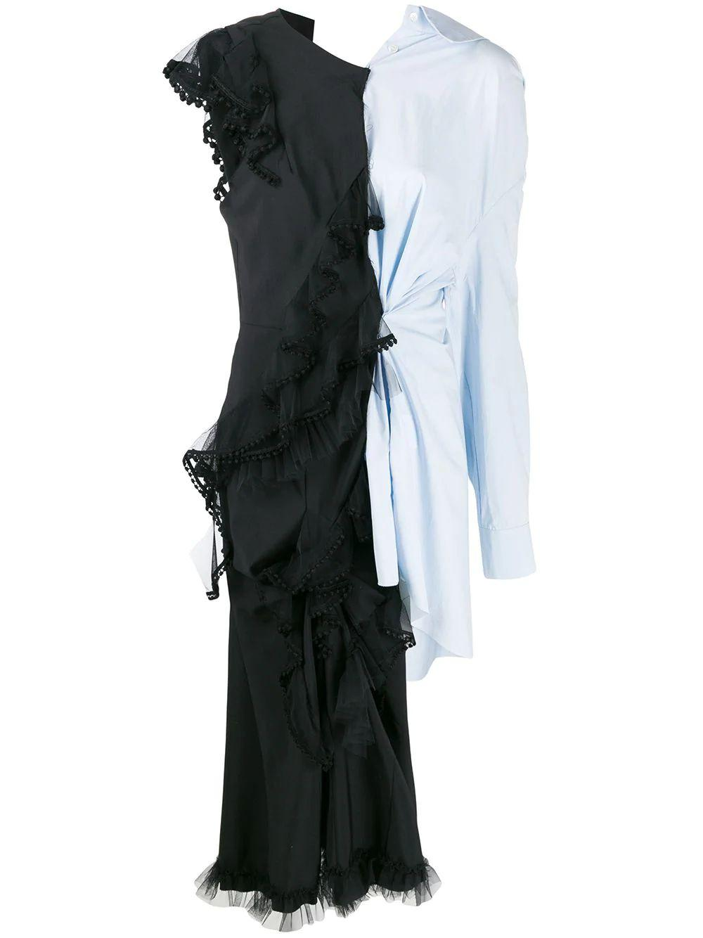 Sleeve Less Shirt With Asymmetric Dress