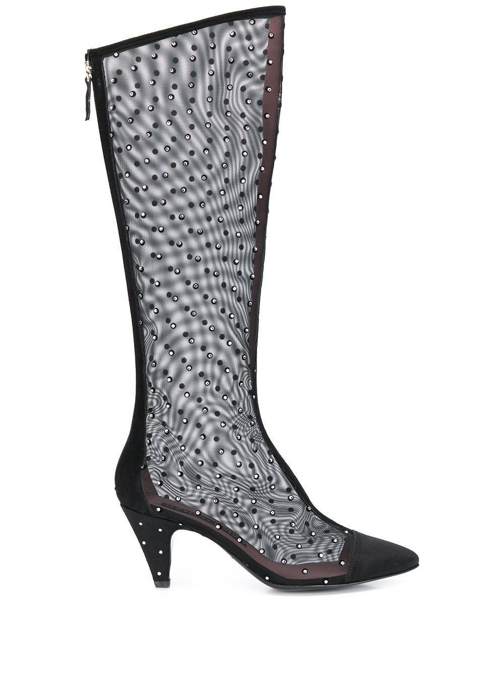 Flor Mesh & Crystal Tall Boot