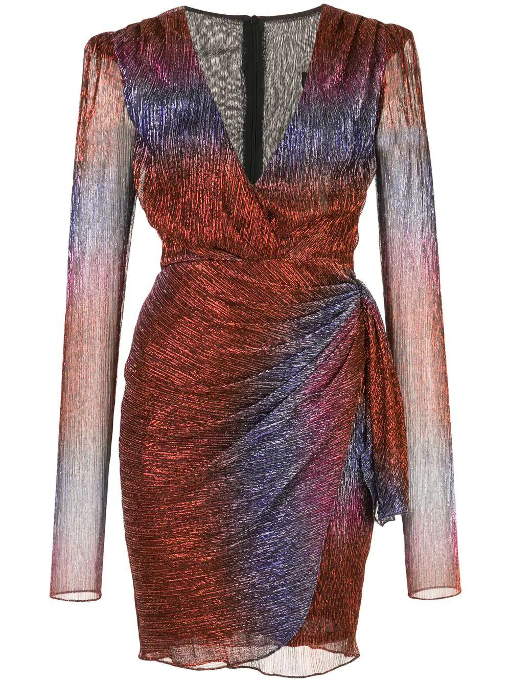 Rainbow Lurex Faux Wrap Mini Dress