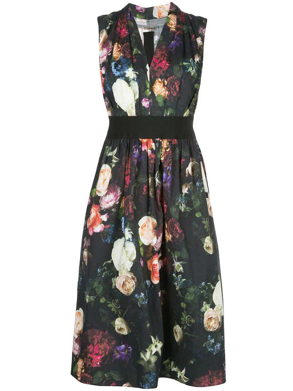 Sleeveless Floral Print Gathered Waist Dress Item # R20728PP