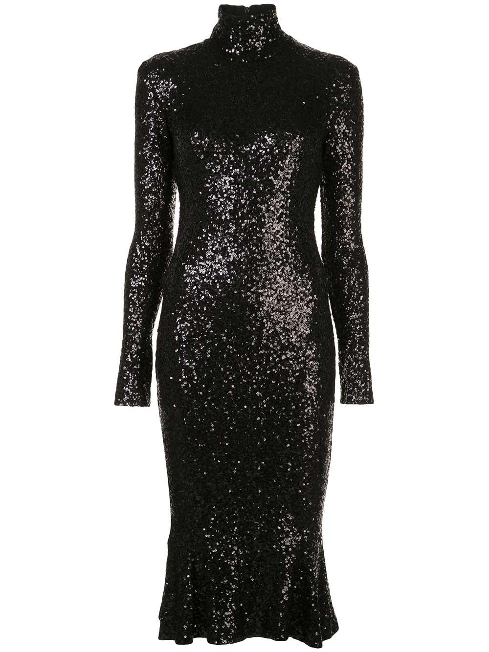 Sequin Long Sleeve Fishtail Dress