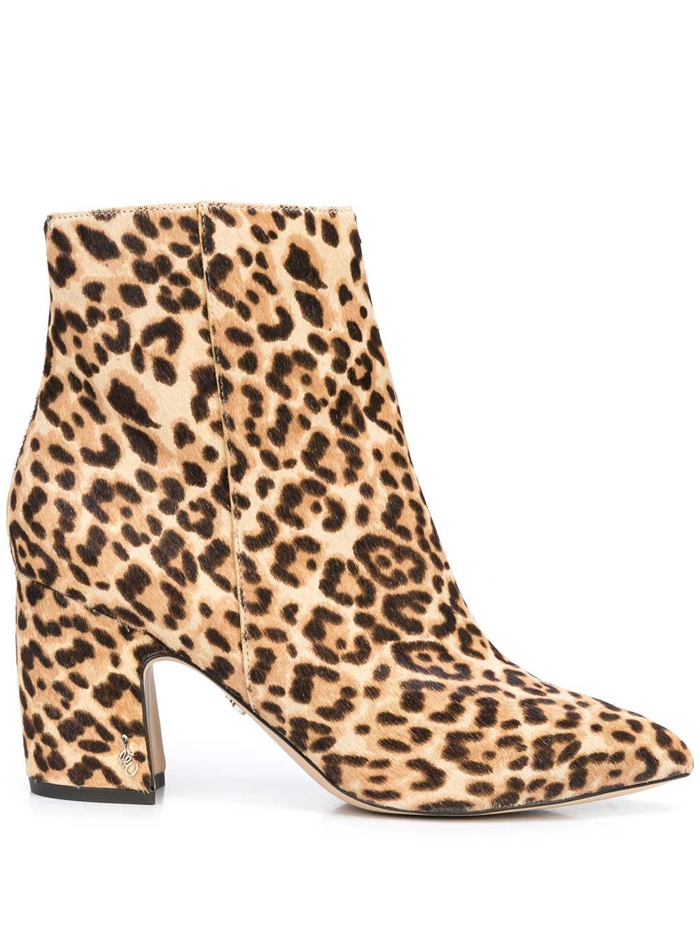 Leopard Calf Hair Pointed Toe Bootie