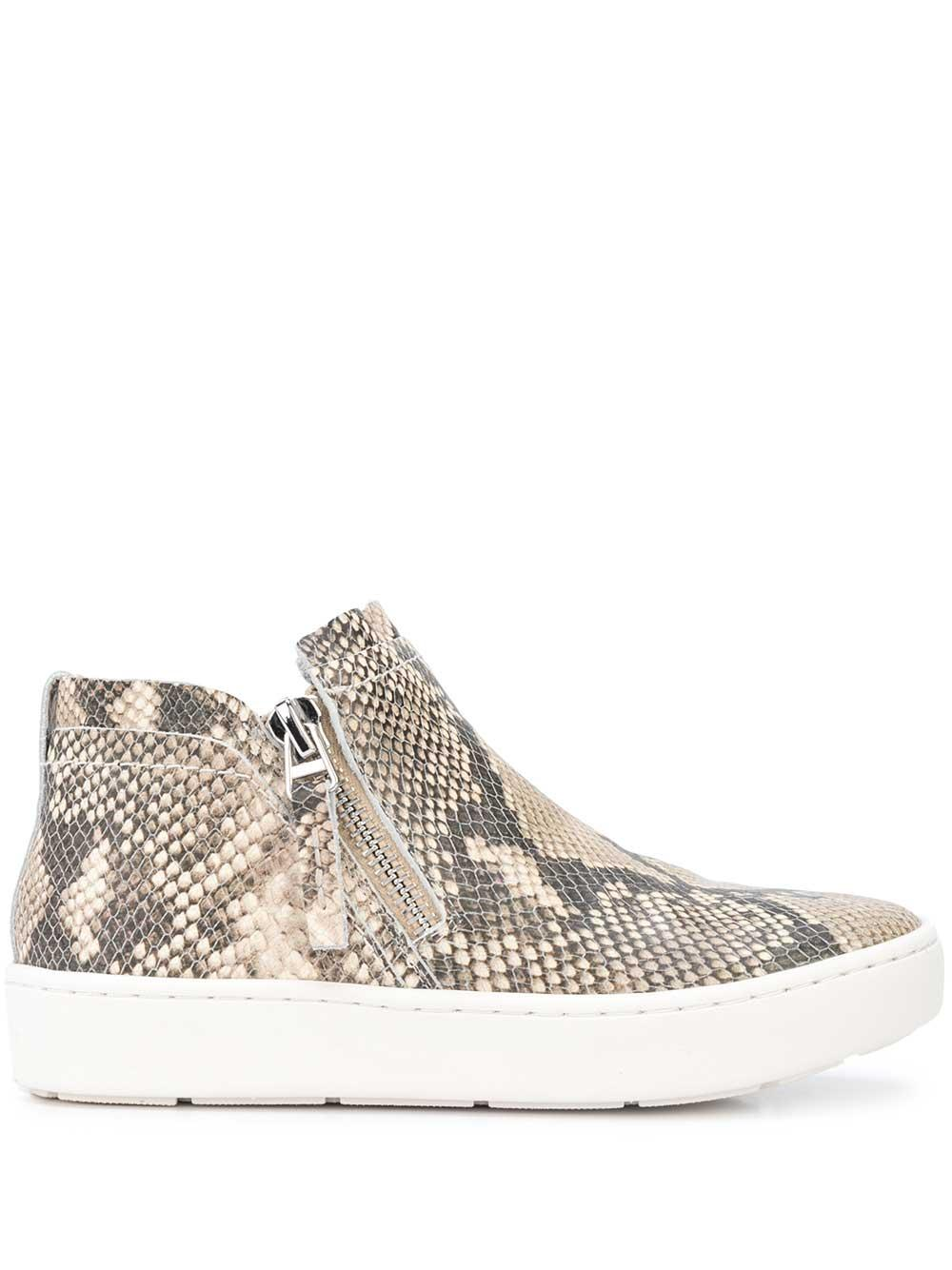 Snake Print Suede Zip Sneaker