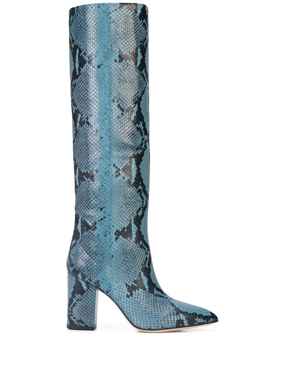Python Print 80mm Leather Tall Boot