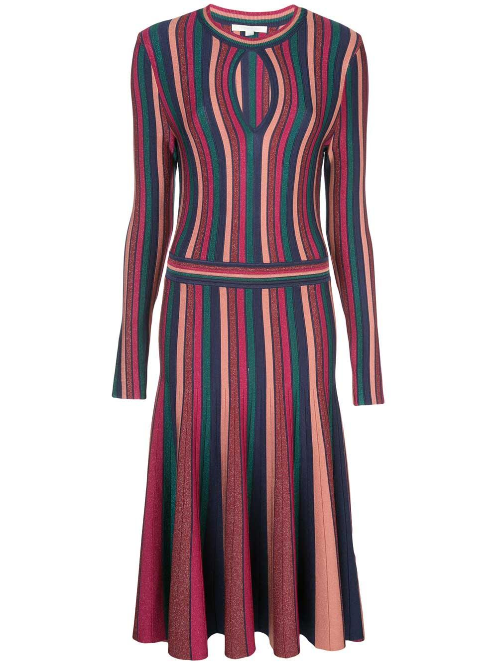 Long Sleeve Metallic Stripe Keyhole Dress