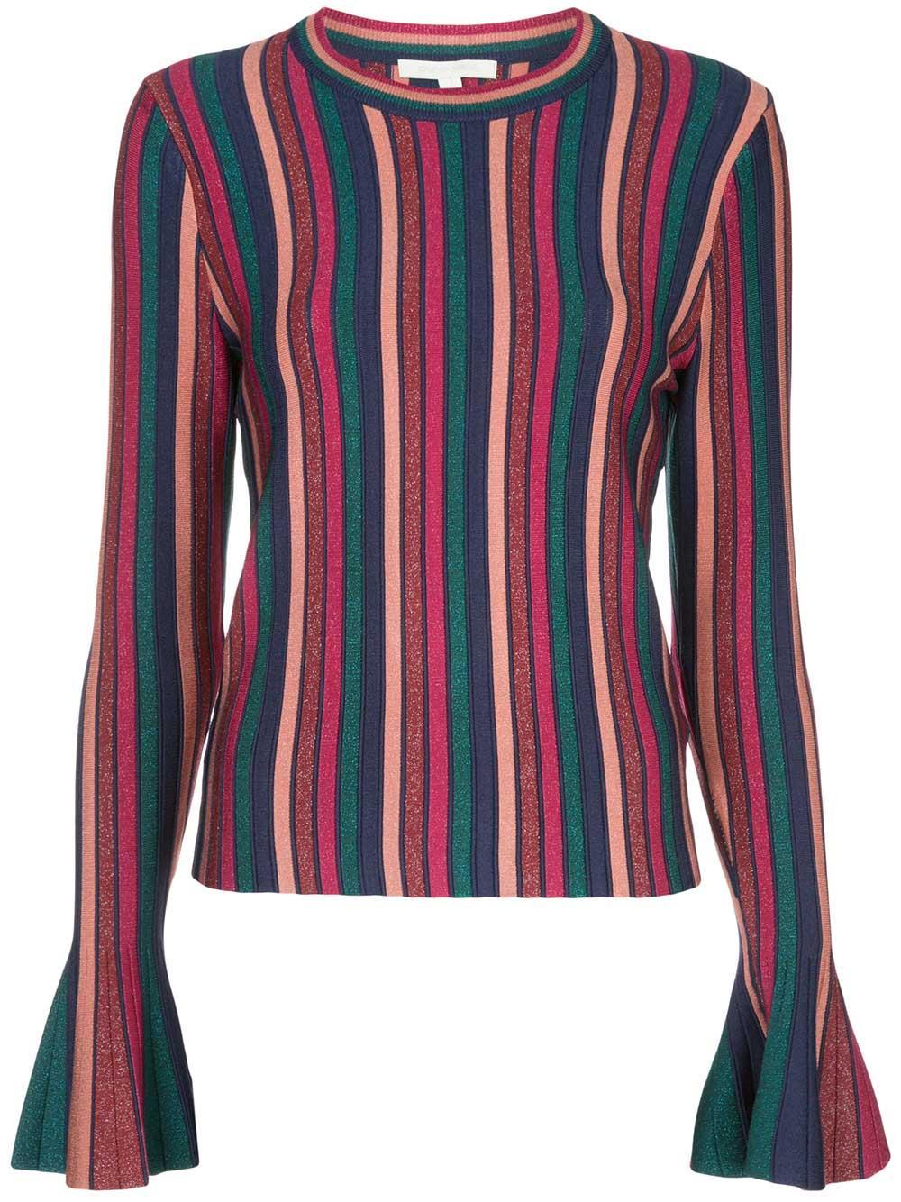 Metallic Stripes Bell Sleeve Top Item # 120-2005-K