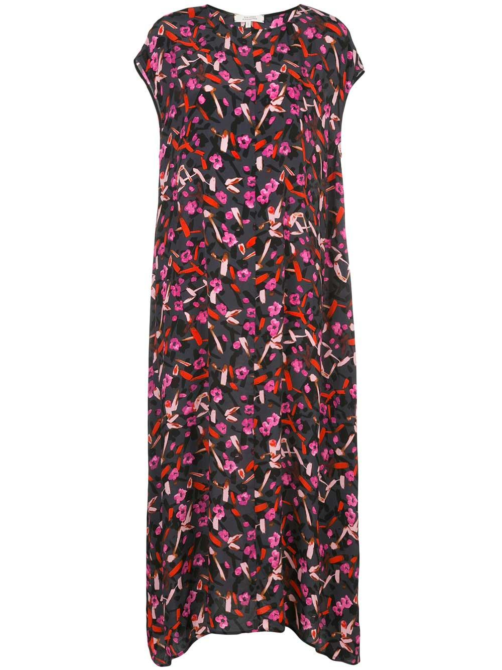 Cap Sleeve Printed Midi Dress