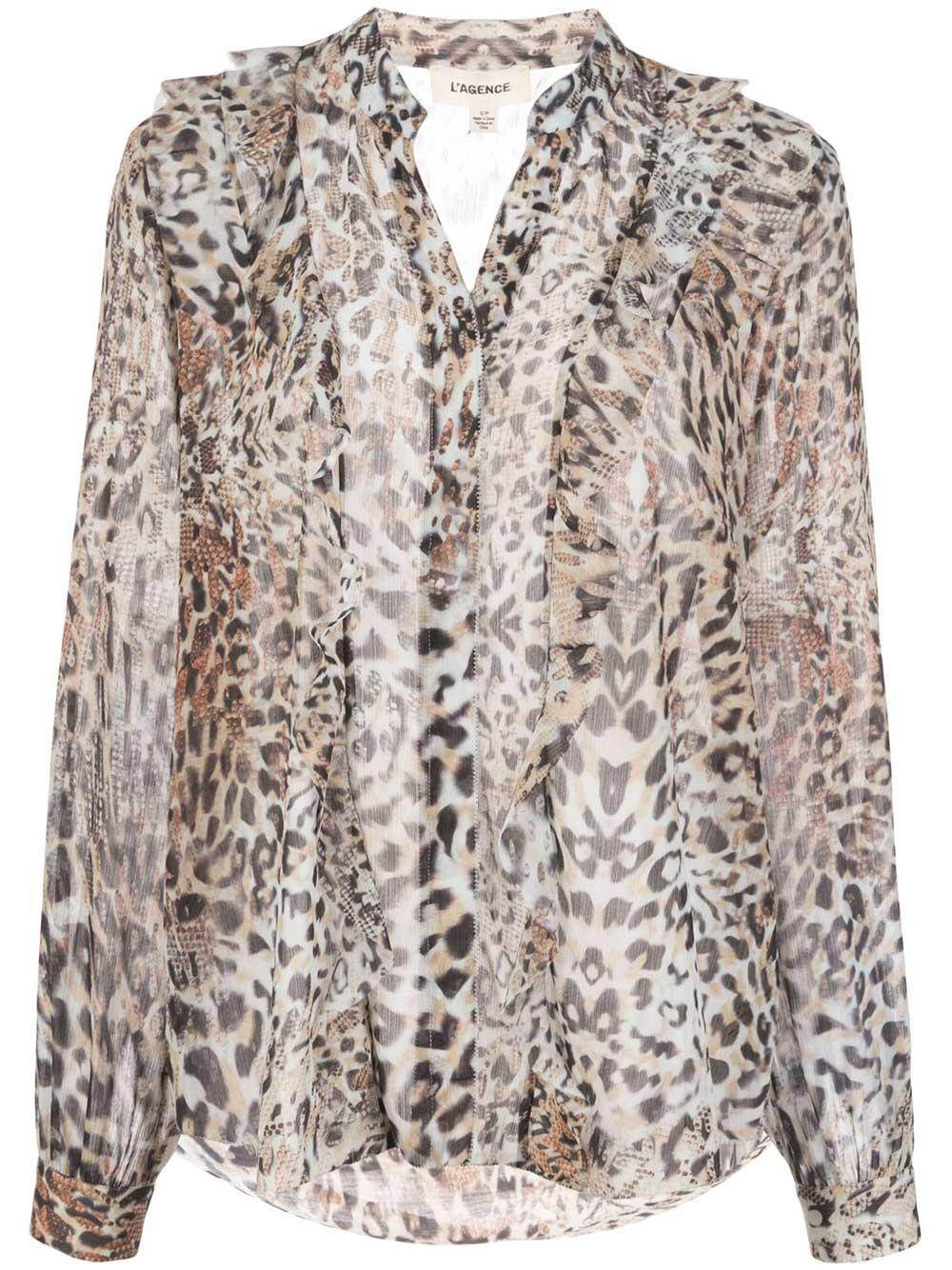 Nadine Leopard Ruffle Long Sleeve Blouse