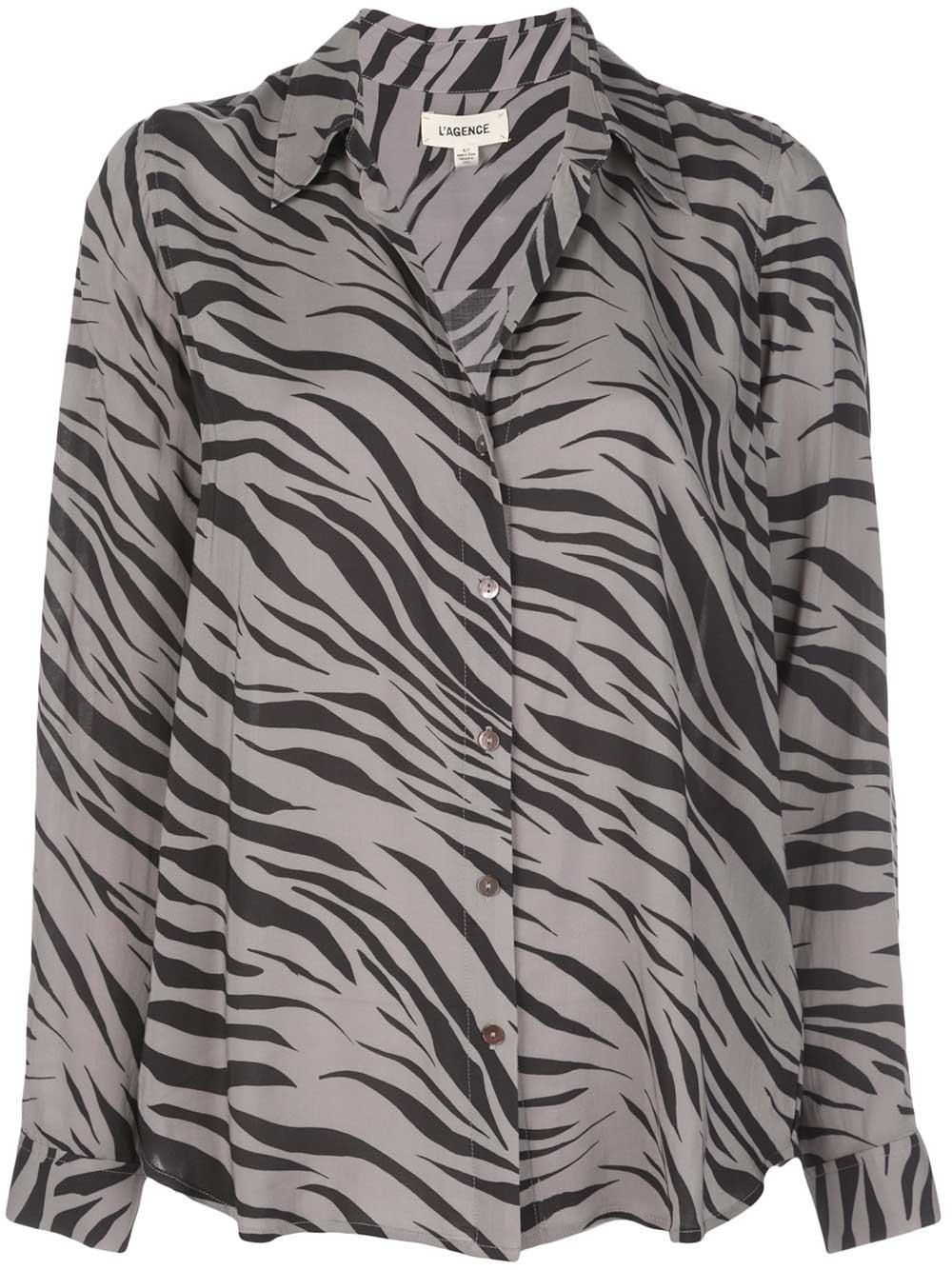 Nina Zebra Print Long Sleeve Blouse