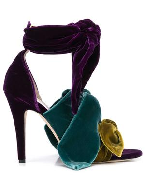 Velour Knotted High Heel With Ankle Wrap