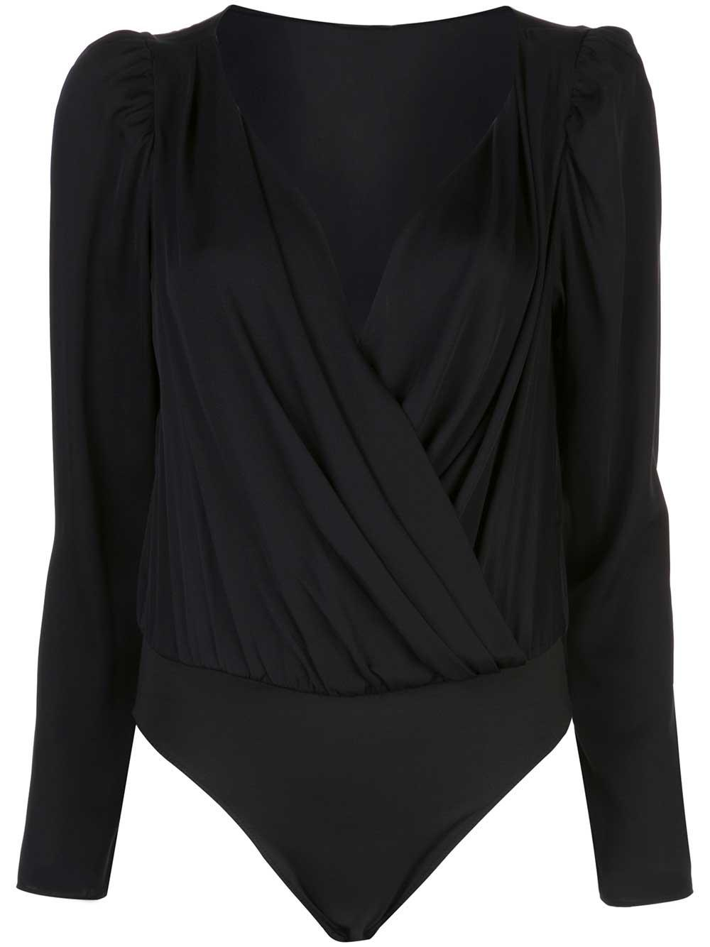 Michele Stretch Silk Drape Long Sleeve Bodysuit Item # 01HT09-Y9