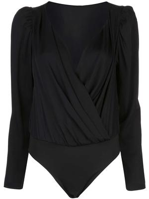 Michele Stretch Silk Drape Long Sleeve Bodysuit