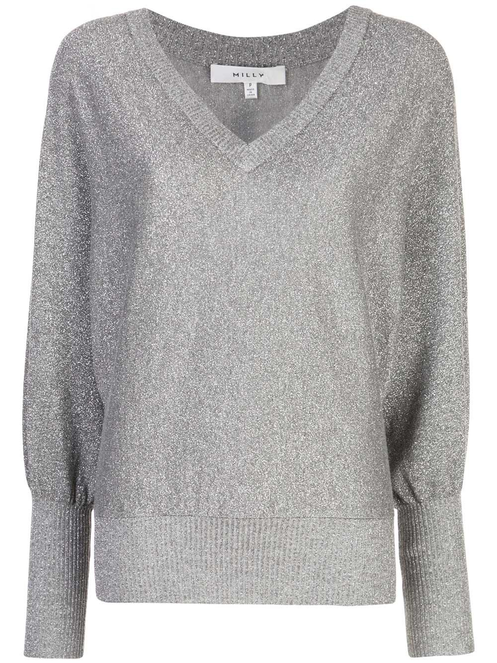 Metallic Vee Neck Dolman Sweater
