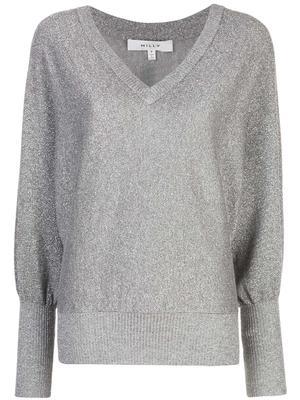 Metallic Vee Neck Dolman Sweater