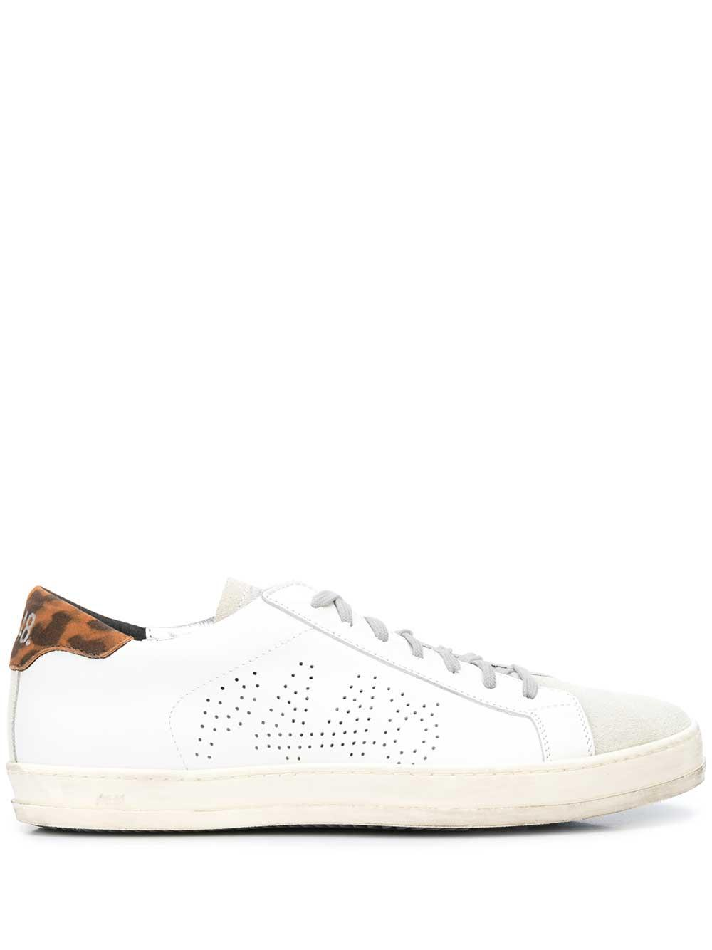 P448 Perforated Sneaker With Leopard Tab Item # F9JOHN-LEO