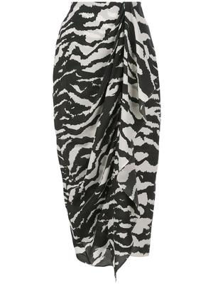 Zebra Printed Draped Skirt