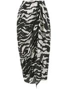 Zebra Printed Draped Skirt