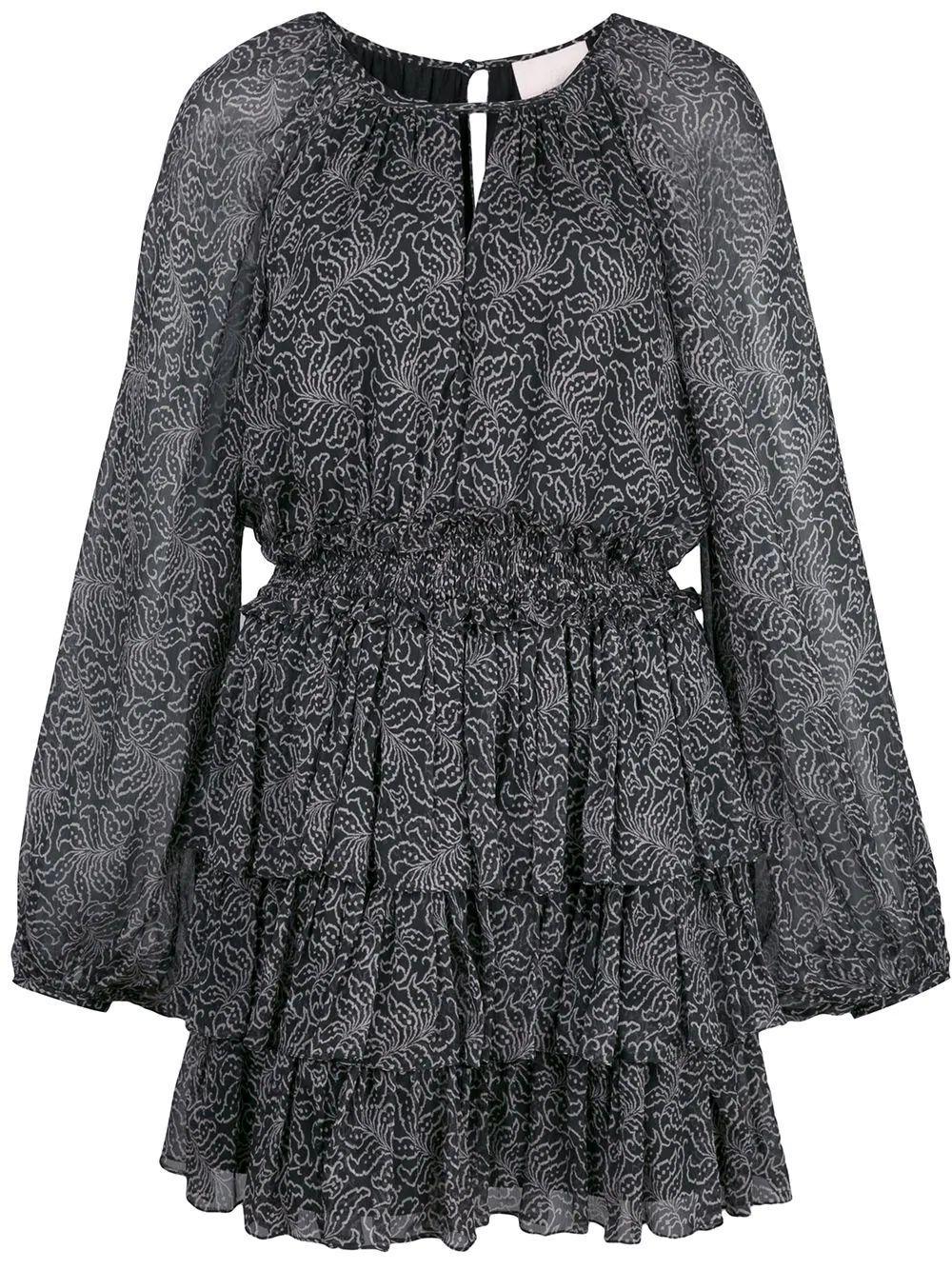 Annabel Print Ruffle Tier Mini Dress Item # ZD10253291Z