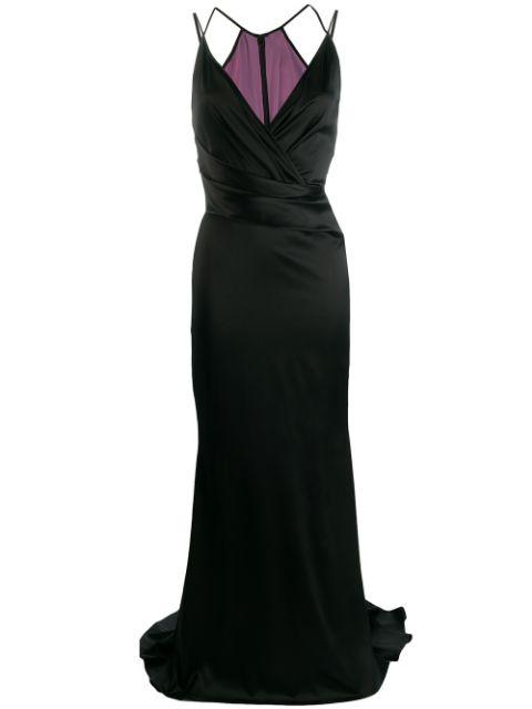 Sleeve Less V-Neck Crepe Satin Gown