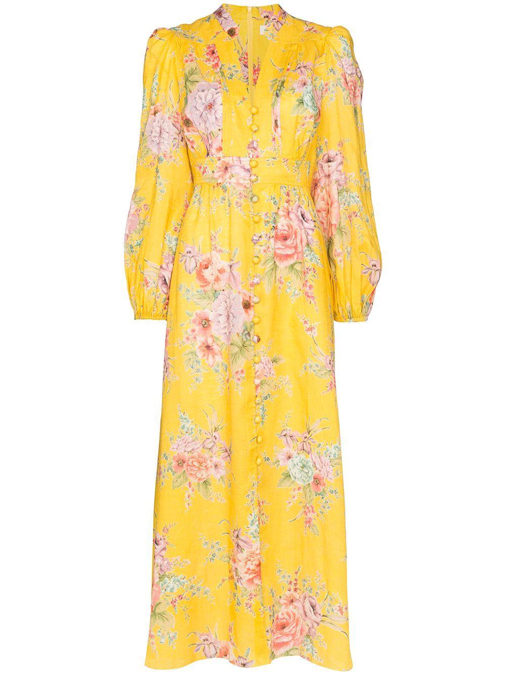 Zinnia Button Front Long Dress