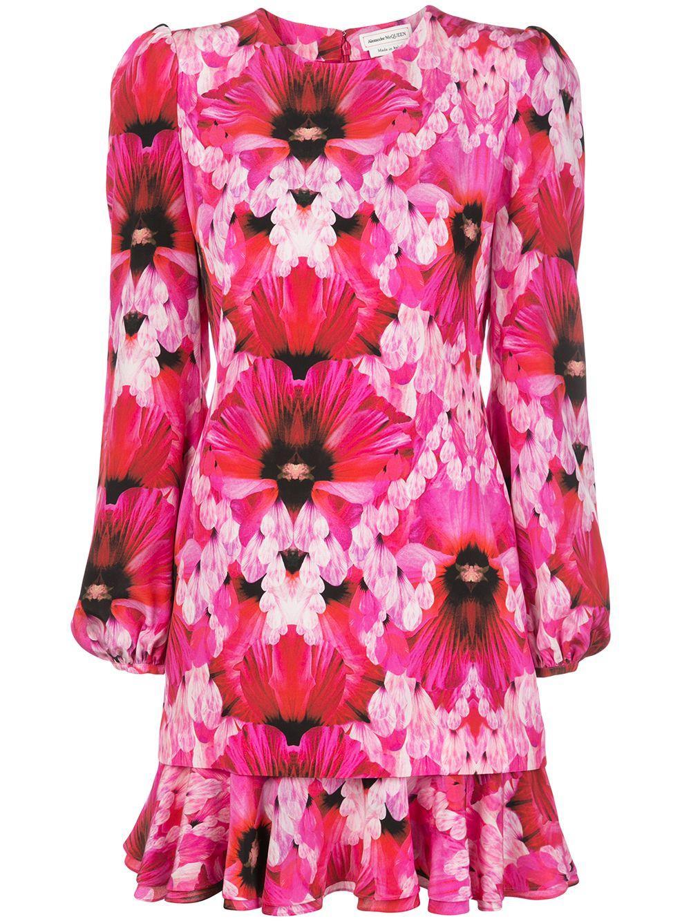 Long Sleeve Floral Print Ruffle Hem Chemise