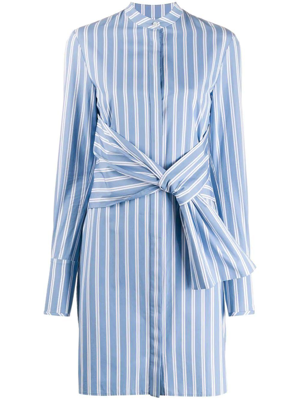 Long Sleeve Striped Shirt Dress With Tie Waist