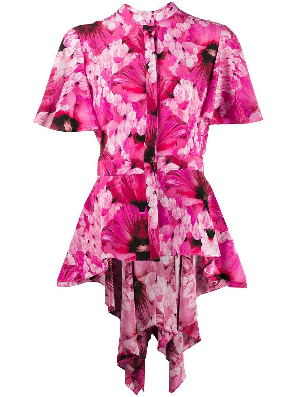 Floral Print Asymmetrical Blouse