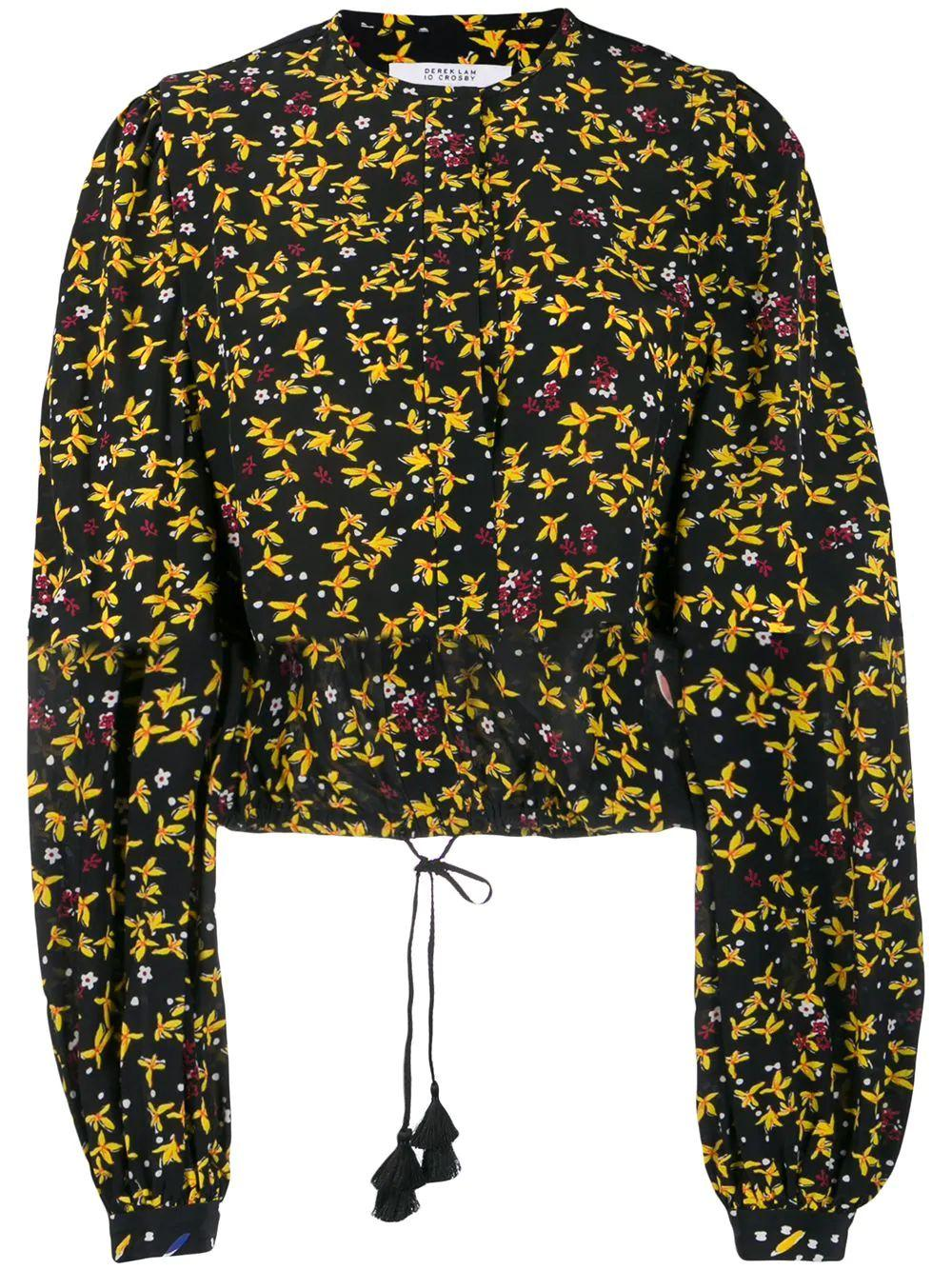 Aster Cropped Print Blouse