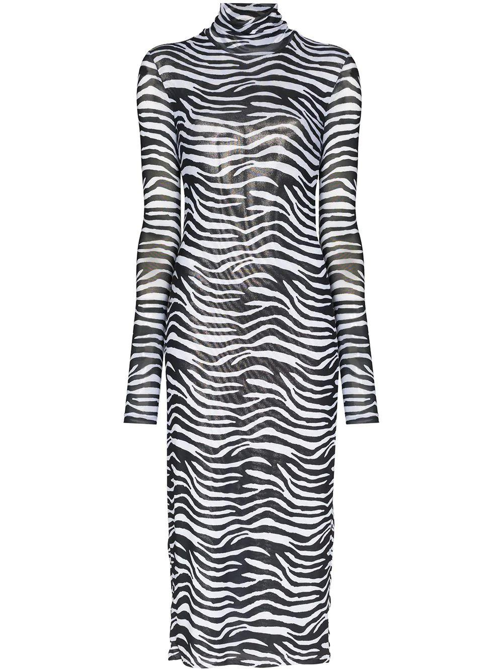 Brae Zebra Printed Mesh Dress