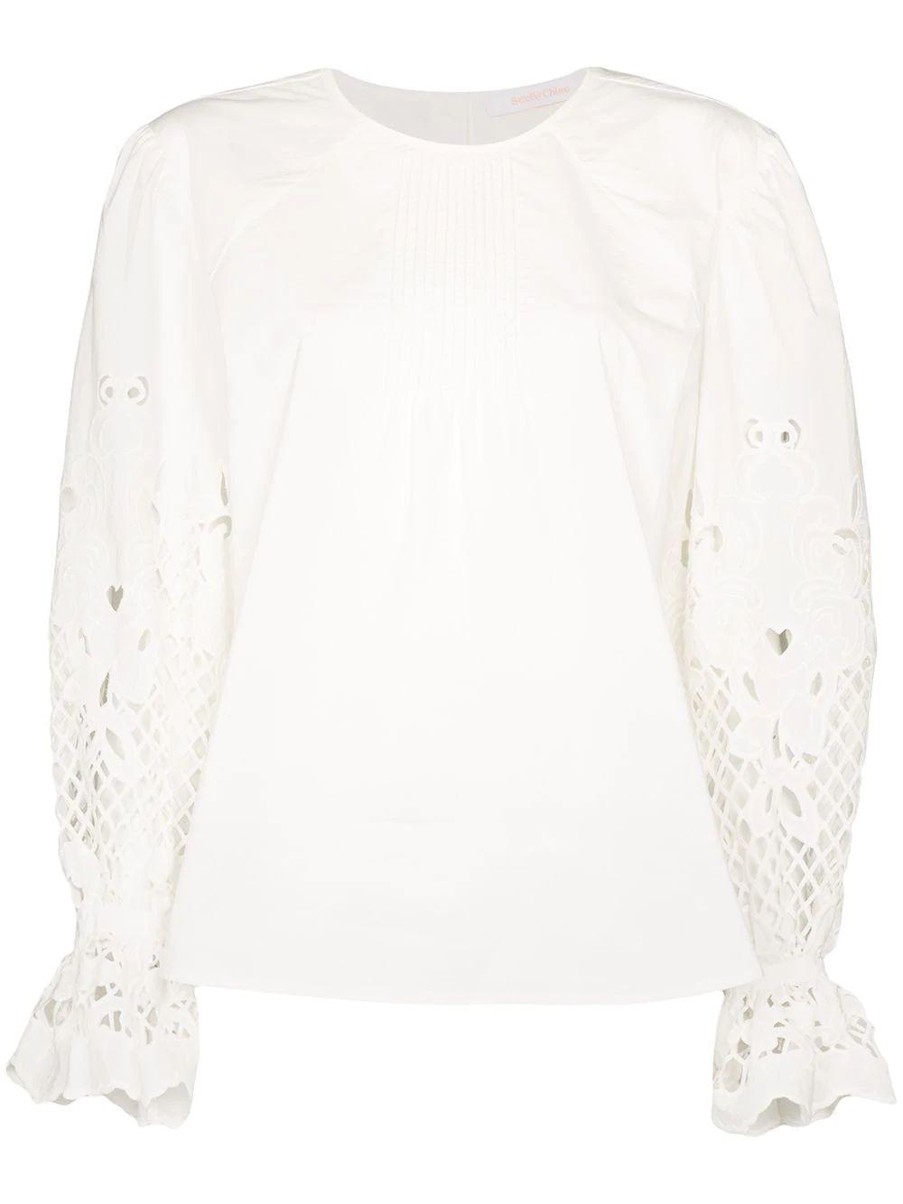 Long Sleeve Geo Embroidery On Poplin Blouse
