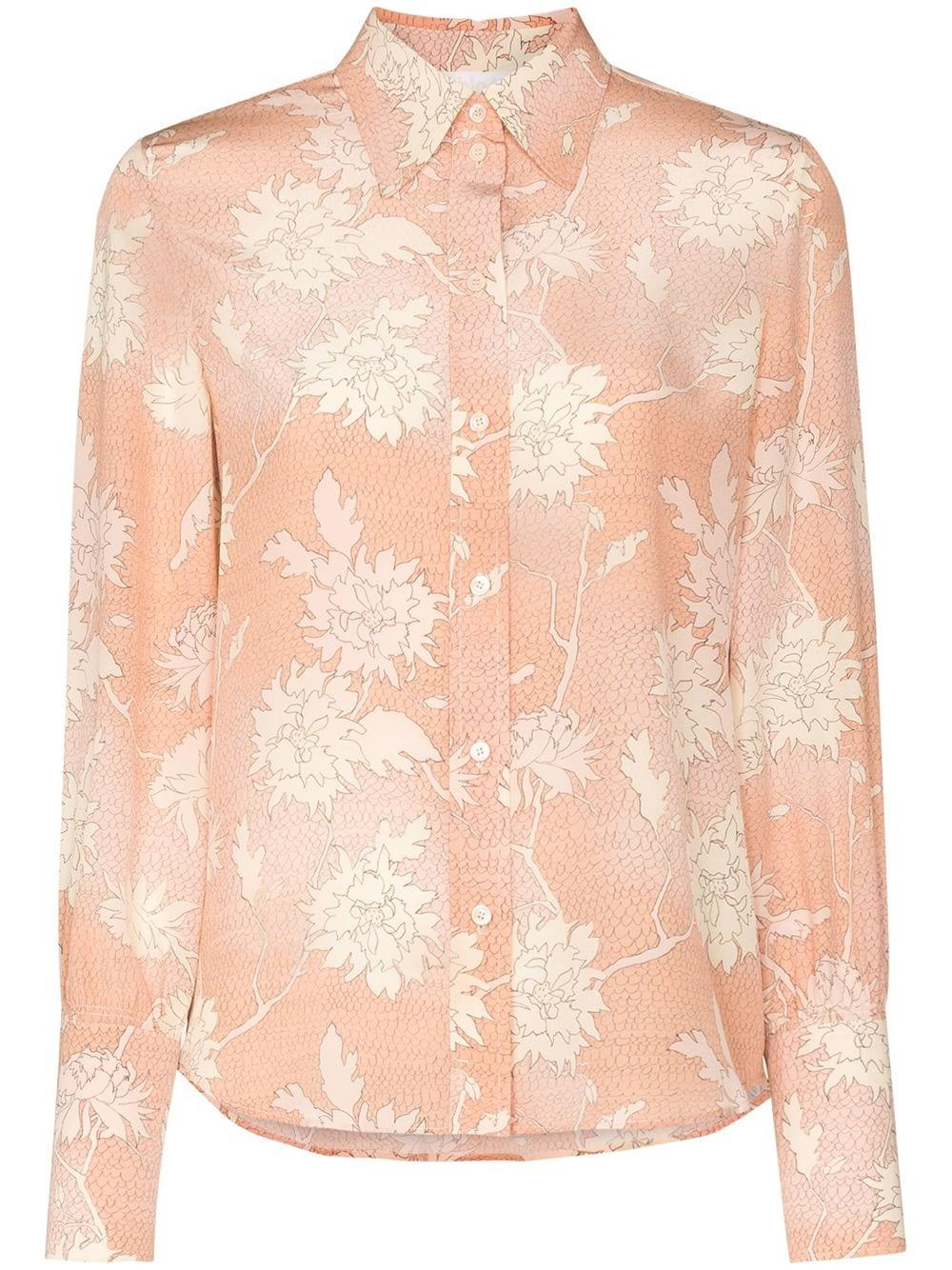 Long Sleeve Scale Print Crepe de Chine Blouse