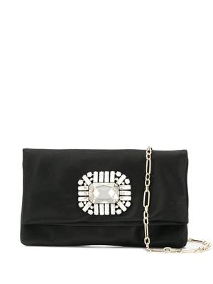 Satin Foldover Clutch With Crystal
