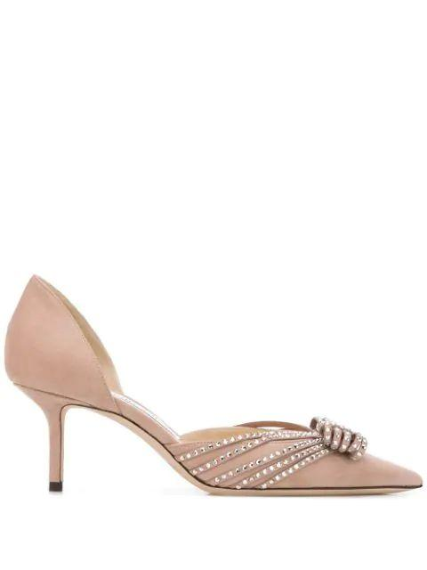 Suede D ' Orsay 65mm Pump With Crystal Bow Item # KAITENCE65-DHO