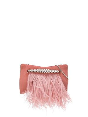 SUEDE CLUTCH WITH OSTRICH FEATHERS
