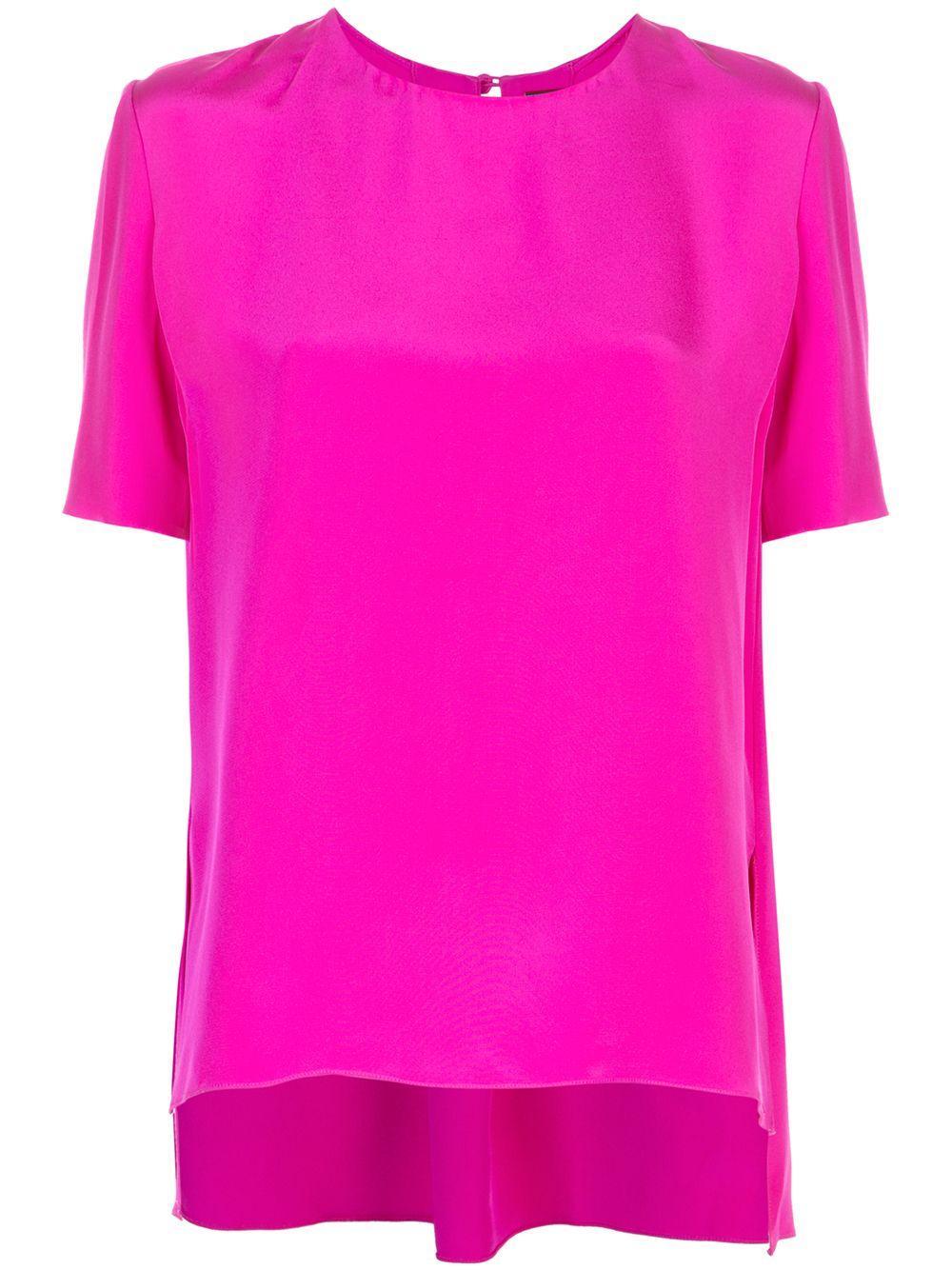 Short Sleeve Crepe Back Pleat Top Item # R20101SE