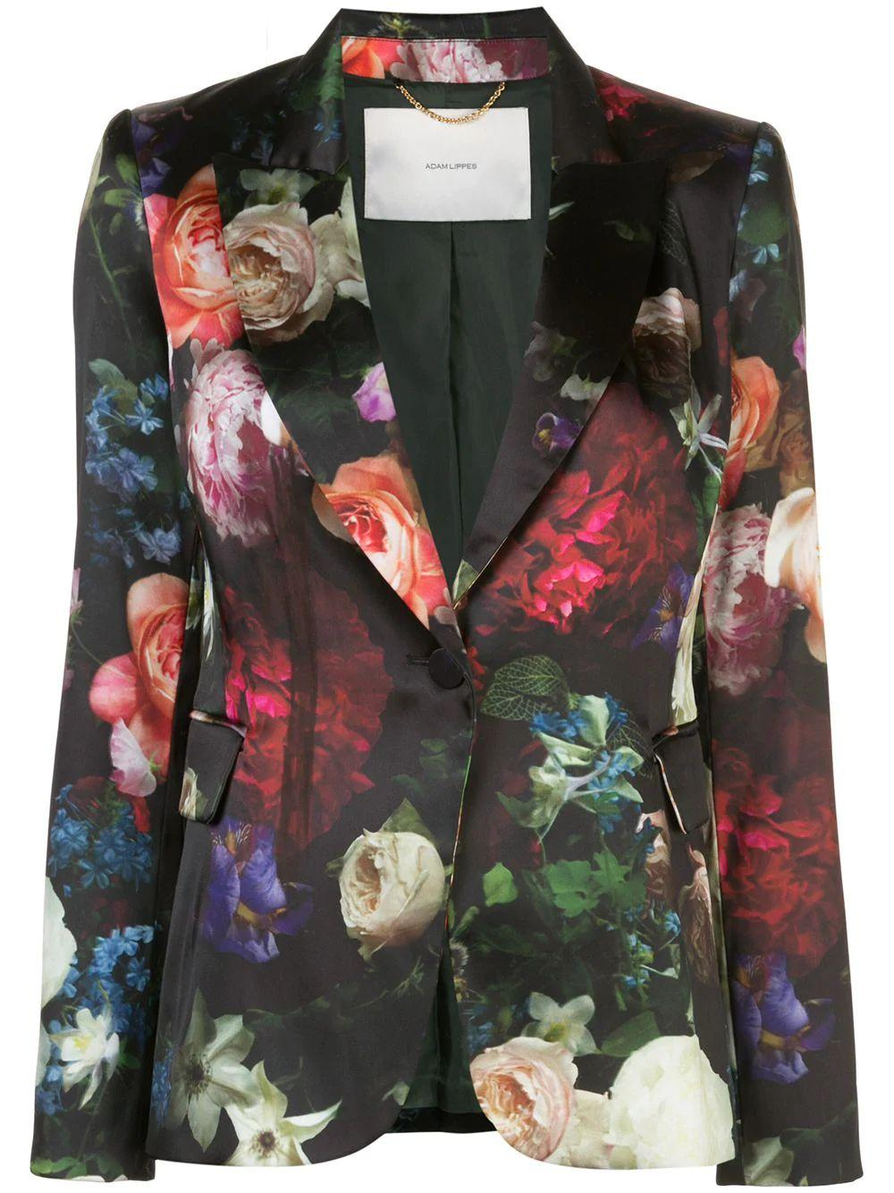 Stretch Satin Floral Print Blazer