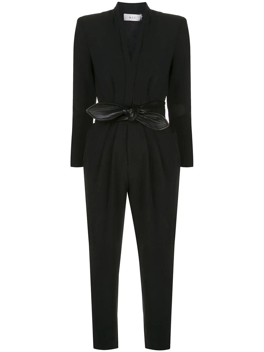 Kieran II Crepe Pleat Leather Belt Jumpsuit