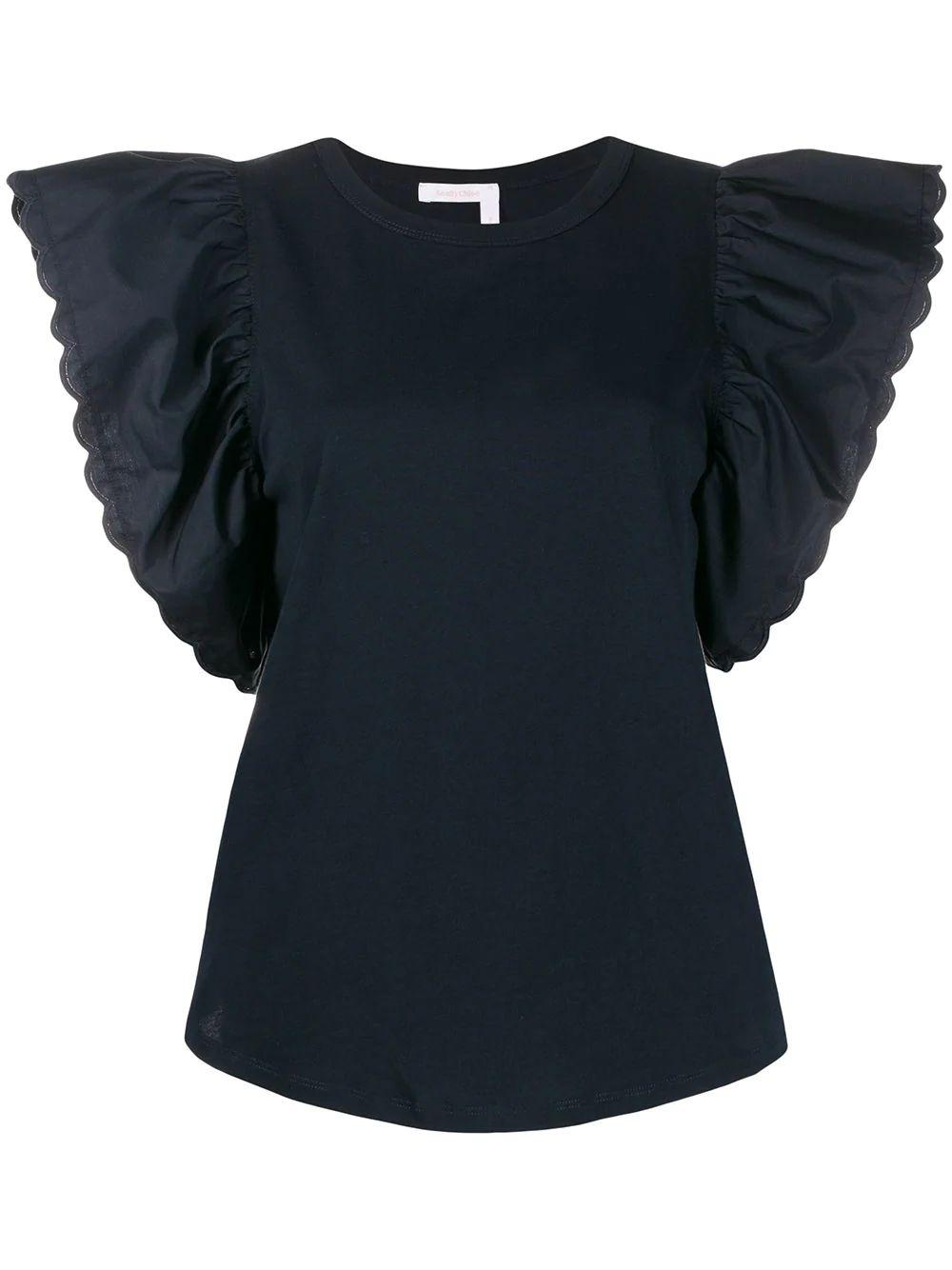 Emb Tee With Oversized Ruffle Sleeve