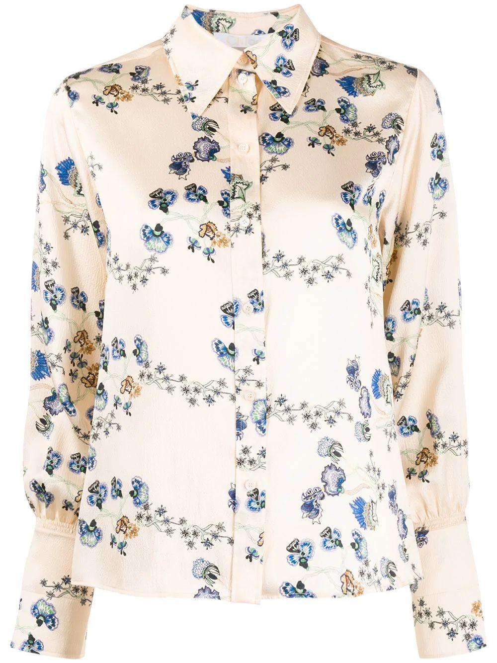 Long Sleeve Floral Print Silk Button Up Blouse
