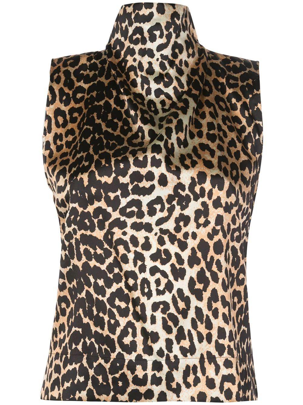 Leopard Sleeve Less Mock Neck Silk Satin Top Item # F4383