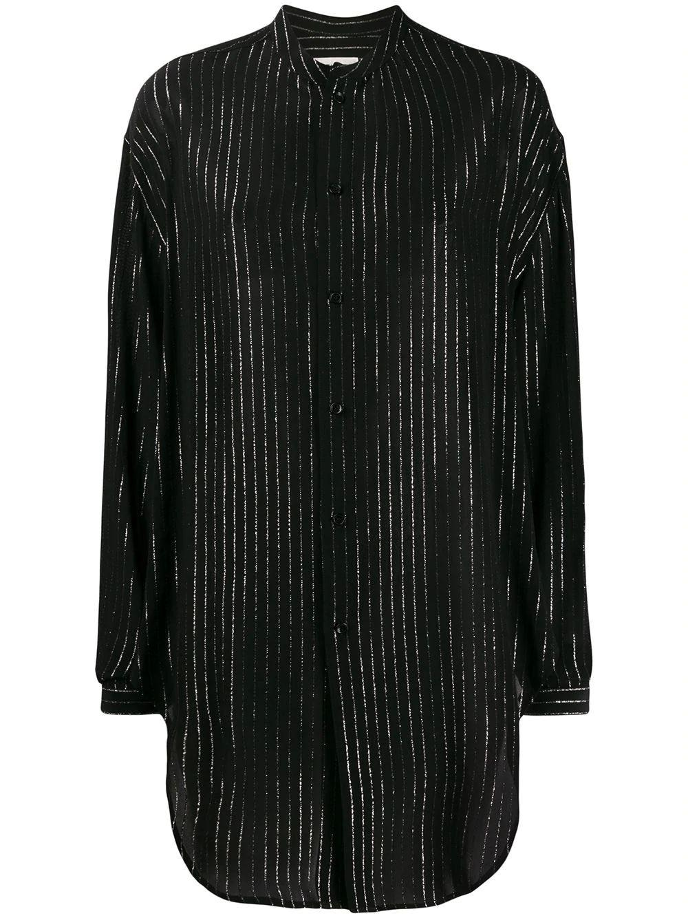 Long Sleeve Lurex Stripe Blouse With Tie Bottom